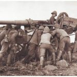 12 pounder gun and limber being positioned outside Ladysmith