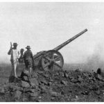 Another of Buller's converted 4.7in naval guns shelling Botha's line at Colenso