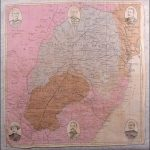 Souvenir handkerchief with map of the theatre of war and images of British generals.
